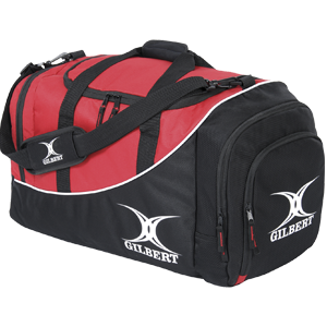 Gilbert Club Player Holdall V2 Bag red and black duffle bag with shoulder strap separated end pocket and large main compartment for storage