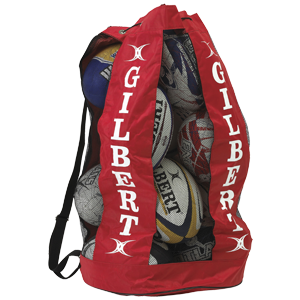 Gilbert Breathable Ball Bag large polyester and mesh bag with shoulder strap and tie cord holds 12 balls