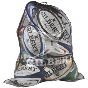Gilbert Fine Mesh Bag ball bag holds 12 balls made of lightweight mesh with drawstring cord