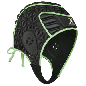 Gilbert Evolution Headguard Black/Green front to back padding aerodynamic padding system fits the contours of the head air vent sections for ventilation hollowed out ear areas extra long stretch lace system