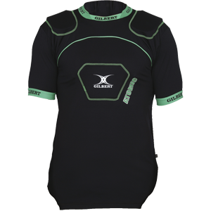Gilbert Atomic V2 Body Armour black and green lightweight shoulder and sternum cover