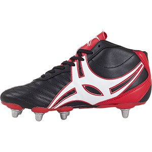 Gilbert XV Sidestep 8's Hi HT Boot synthetic leather upper durable all weather conditions support cradle 8 stud outsole for soft ground balanced weight distribution and ultimate traction