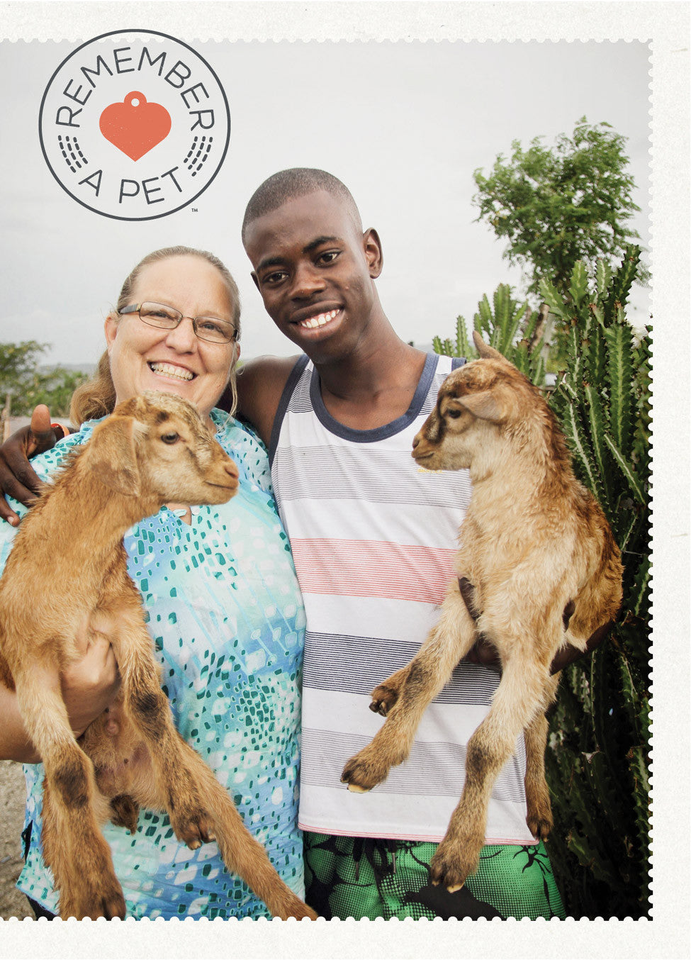 Vet with Young Man and Goats