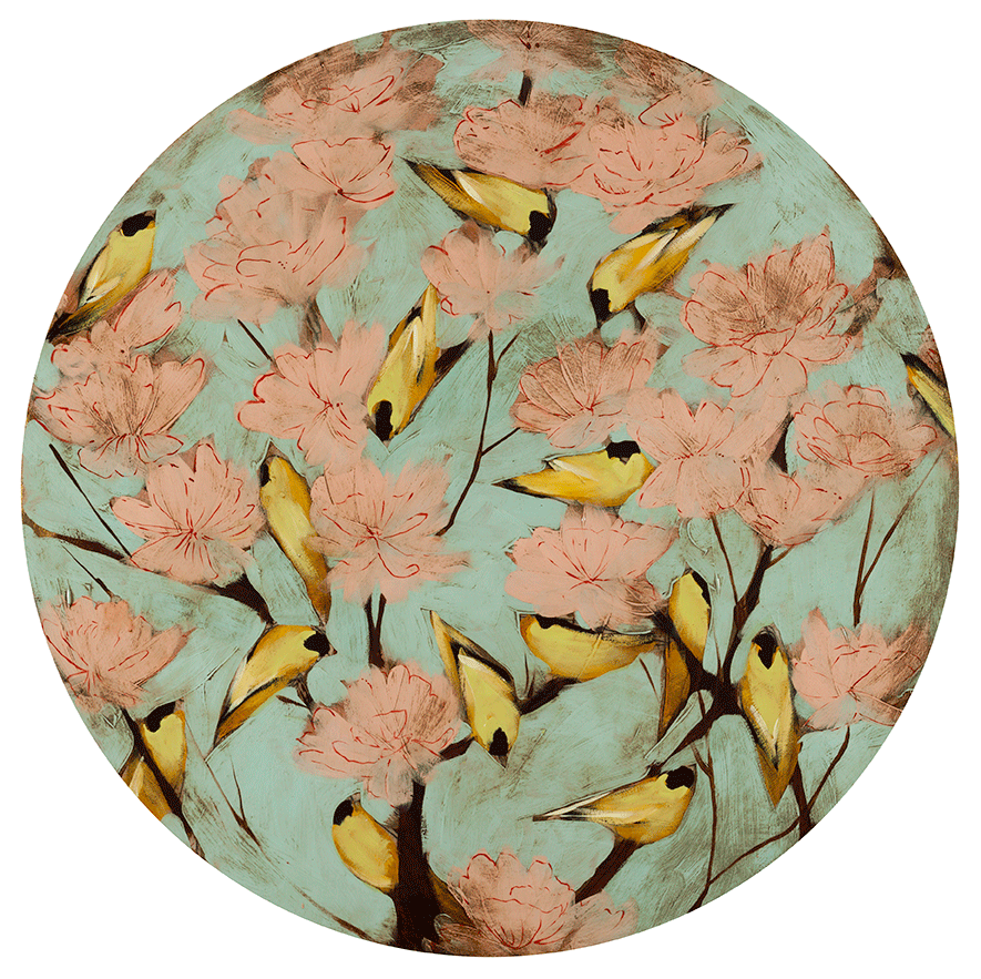 "Blossoms & Finches 36"" diameter"