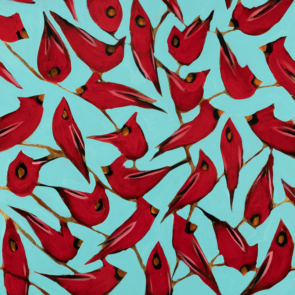 Cardinals on Blue 24 x 24