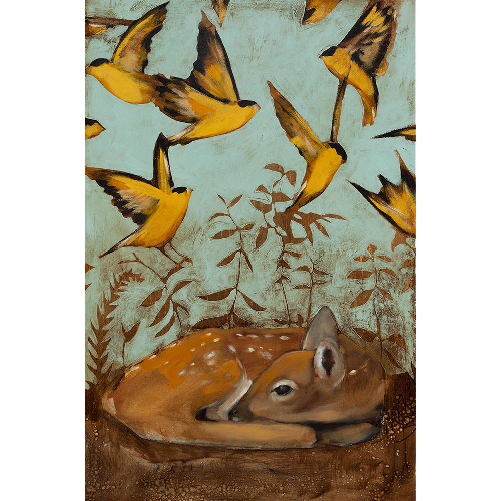 Fawn & Finches 36 x 24