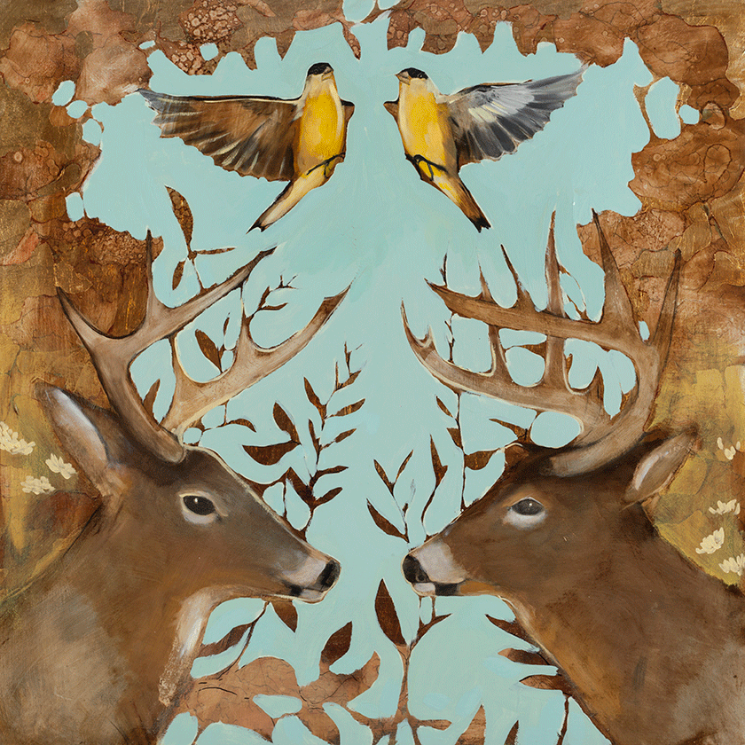 Finches & Antlers 36 x 36