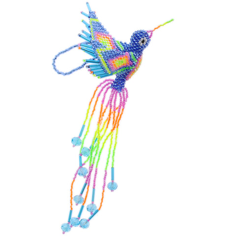 Beaded Hummingbird Blue Neon