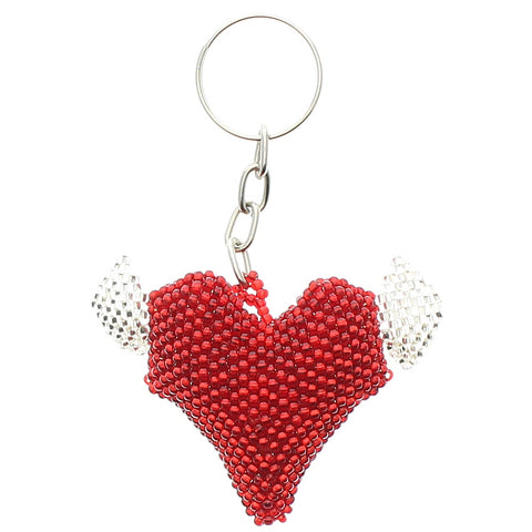 Beaded Keychain Heart with Wings