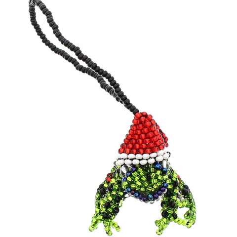 Beaded Ornament Santa Frog