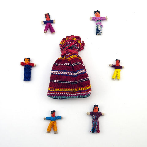Tradtional Worry Dolls in a Pouch