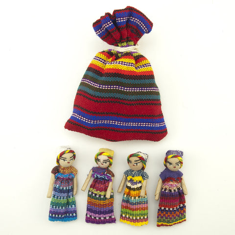 Four Large Worry Dolls with a Pouch