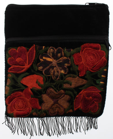 Embroidered Velvet Crossbody