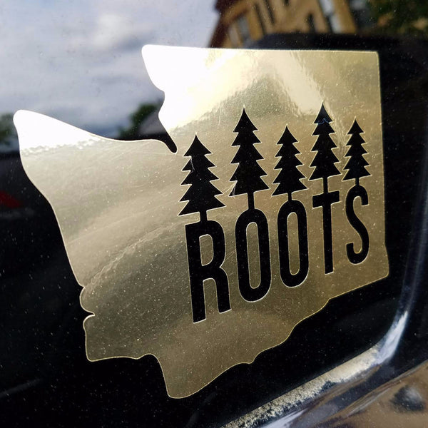 Washington Roots Diecut Sticker Gold Foil Stickers