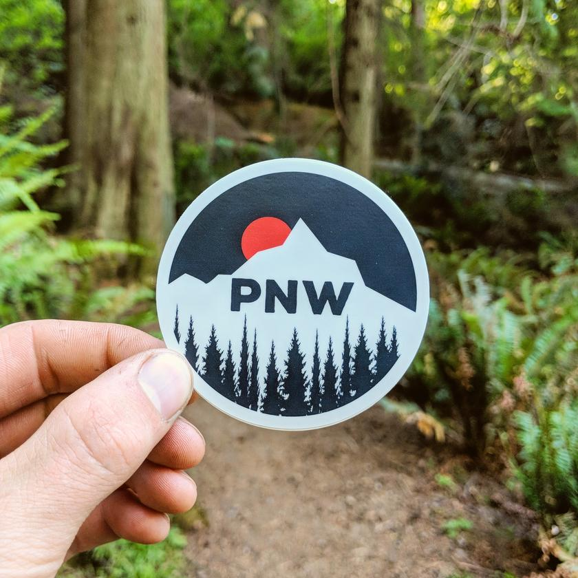 PNW Mountain Sunset Sticker
