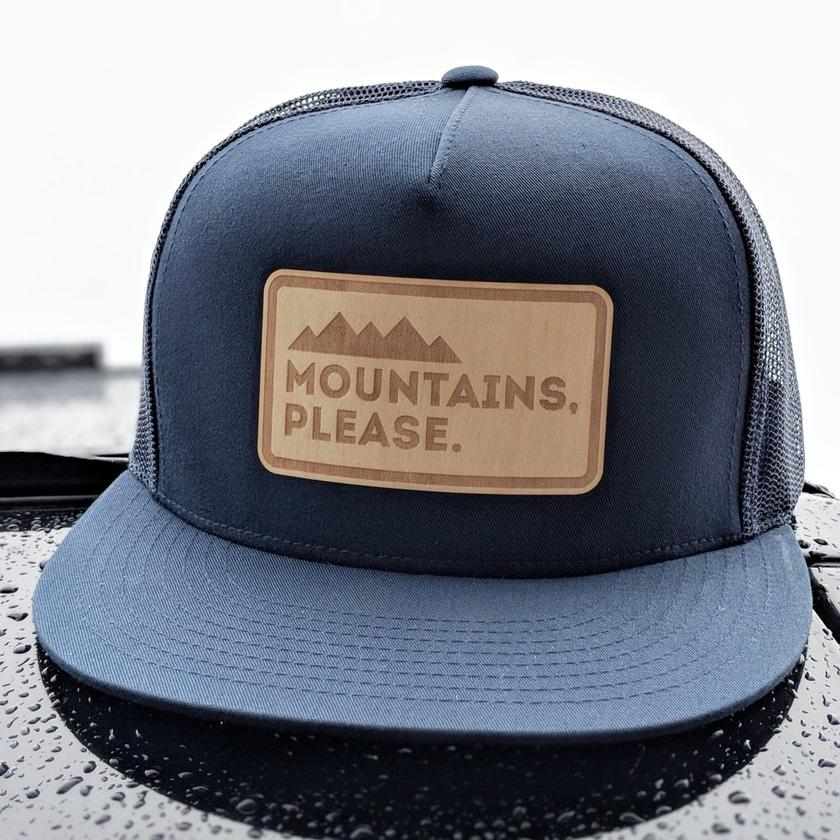 Mountains Please Hat - Wood Logo