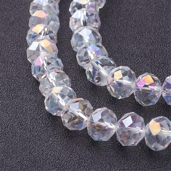 Chinese Crystal Beads Rondelle Shape, Color Crystal AB 70 Beads 8mmX6mm