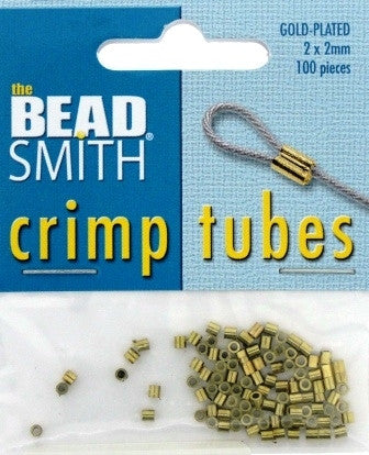 Gold Plated Crimp Tubes (100 Pieces) - www.kraftsandbeads.com