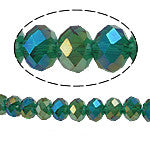 Chinese Crystal Glass Beads Faceted Rondelle Shape 6mm X 4mm Color Green AB - www.kraftsandbeads.com