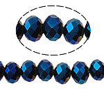 Chinese Crystal Glass Beads Faceted Rondelle Shape 8mm X6mm Color Metallic Blue - www.kraftsandbeads.com