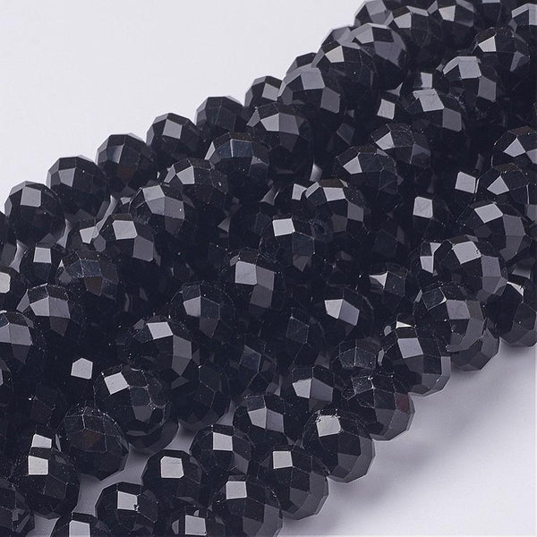 Chinese Crystal Glass Beads Faceted Rondelle Shape, Color Jet Black (8mmX6mm)