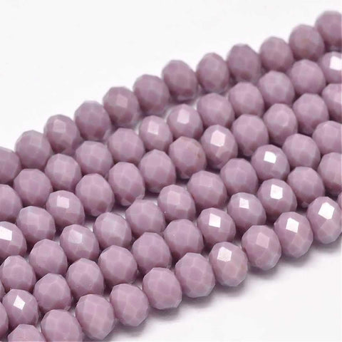 Chinese Crystal Glass Beads Faceted Rondelle Shape 8mm X 6mm Color Jade Plum