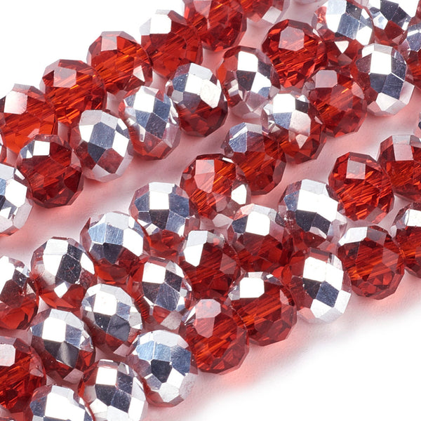 Chinese Crystal Beads Rondelle Shape 8mm X 6mm Red & Silver