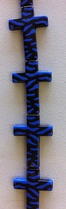 Zebra Print  Acrylic Beads Blue and Black - www.kraftsandbeads.com