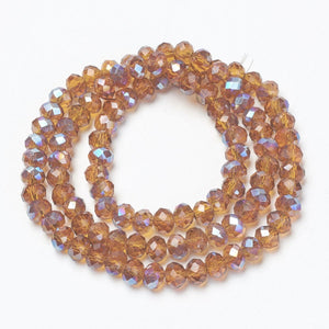 Chinese Crystal Beads Rondelle Shape 8mm X 6mm Light Brown with Purple Plated