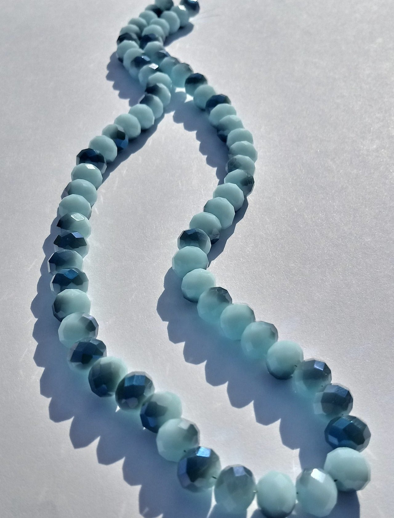Chinese Crystal Beads Rondelle Shape 8mm X 6mm Jade Lt Blue 70 Beads