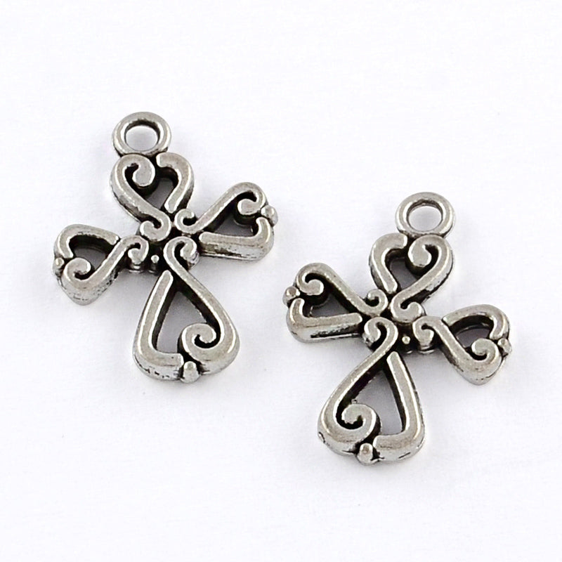 Crosses Pewter Antique Silver (15 Pieces)