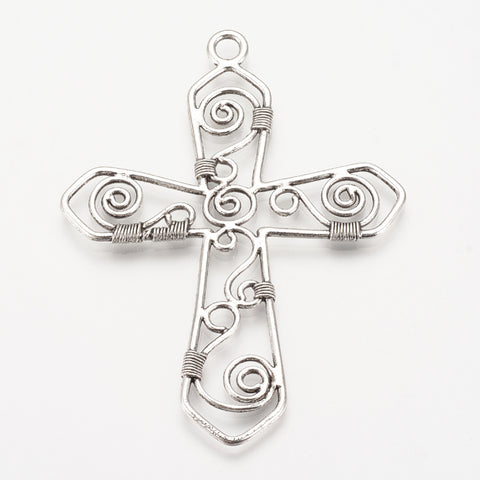 Cross Pewter Pendant Silver (10 Pieces)