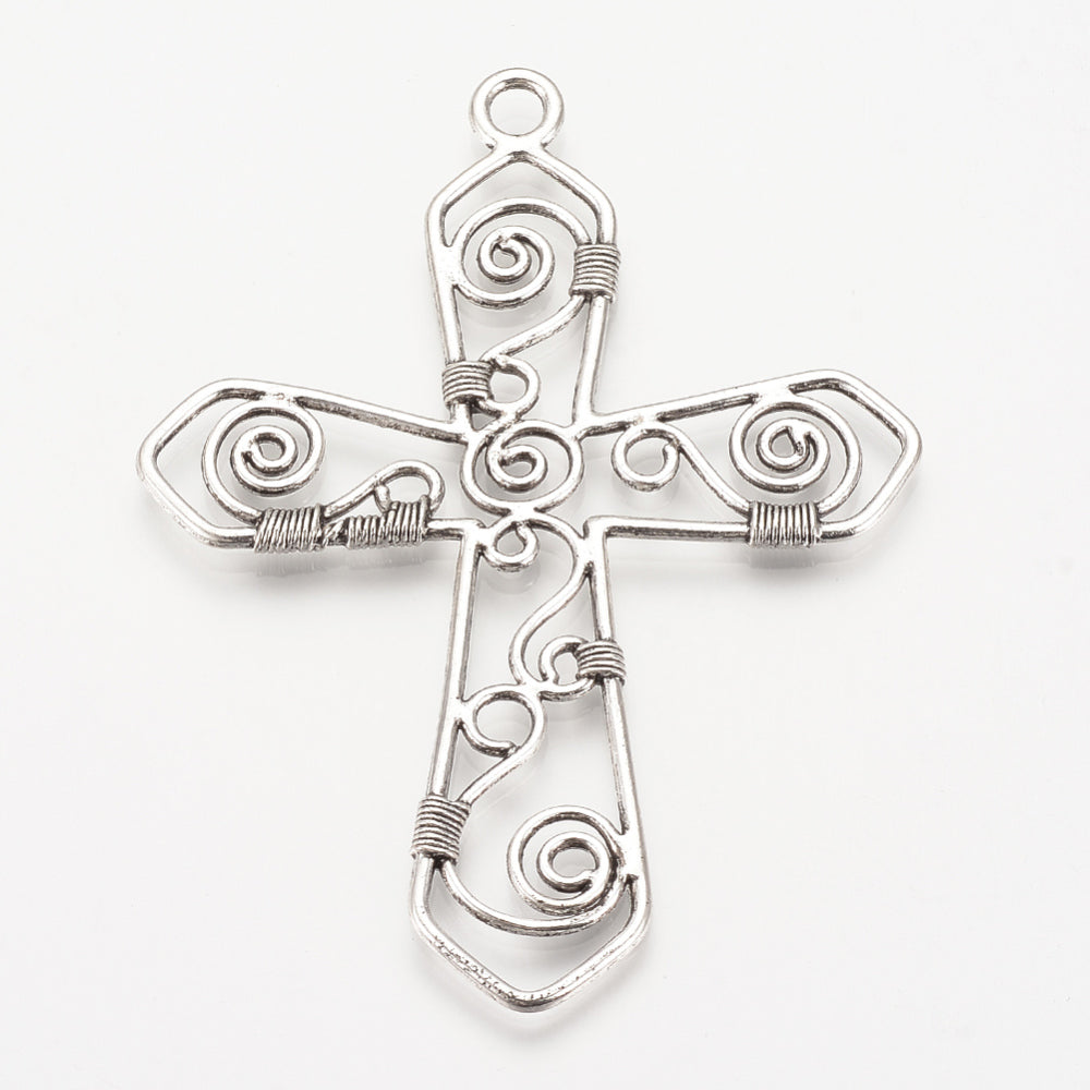 Cross Pewter Pendant Silver (1 Piece)