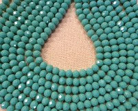 Chinese Crystal Glass Beads Faceted Rondelle Shape 8mm X 6mm Color Jade Green - www.kraftsandbeads.com