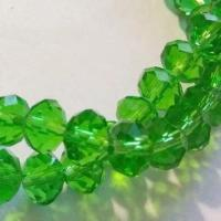 Chinese Crystal  Glass Beads Faceted Rondelle Shape, Color Green