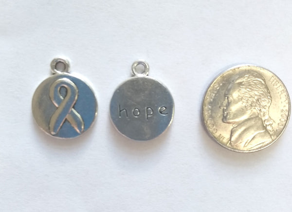 Breast Cancer Round Hope Charms ( 6 Pieces) - www.kraftsandbeads.com