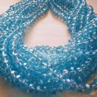 Chinese Crystal Glass Beads Faceted Rondelle Shape 8mm X 6mm Color Aquamarine AB - www.kraftsandbeads.com