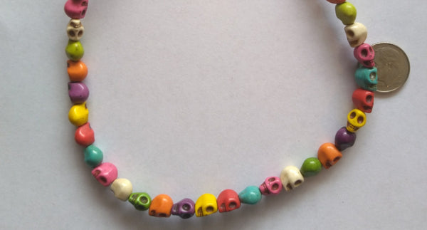 Skulls Beads Synthetic Turquoise Small Multi-Colored Beads 7mmX6mm - www.kraftsandbeads.com
