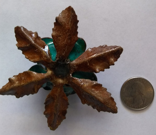 Metal Flower Blue/Green Color  (1 Piece) - www.kraftsandbeads.com