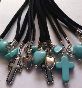 Tassels Blue Turquoise Beads and Black Suede Color, adorned with silver hearts and crosses.   (1 Piece) - www.kraftsandbeads.com