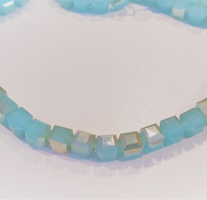 Chinese Crystal Glass Beads, Square Shape 6mm X 6mm Color Opal Blue adorned with Light Metallic Gold