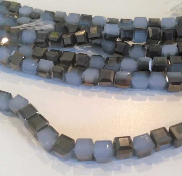 Chinese Crystal Glass Beads, Square Shape 6mm X 6mm Color Opal Gray/Blue with Metallic Brown