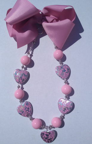 Girl's Necklace with Bubble Gum Beads Handcrafted in the United States