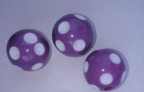 Acrylic Polka dot Bead Purple Color 20mm