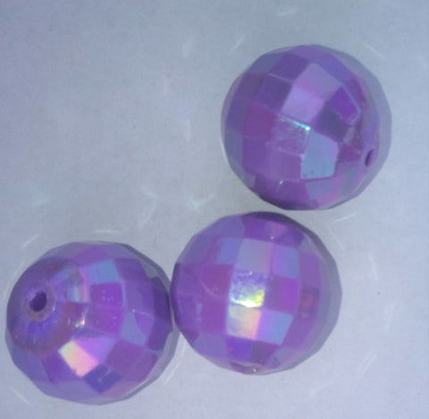 Bubble Gum Beads Round Acrylic Purple Color 20mm