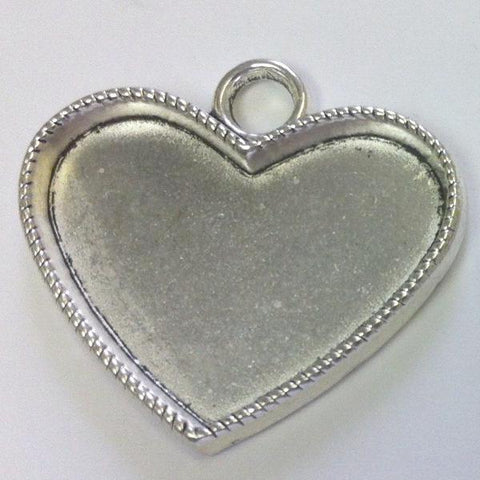 Fill-in Heart Silver Pendant (1 Piece)