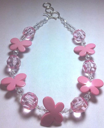 Child's or Young Adult Necklace with Pink Bubble Gum Beads - www.kraftsandbeads.com