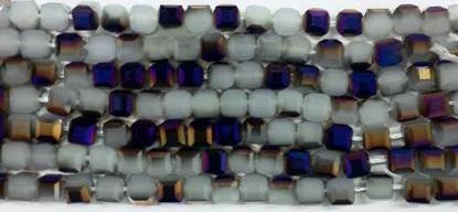 Chinese Crystal Glass Beads, Square Shape 6mm X 6mm Color Opal White with Metallic Purple