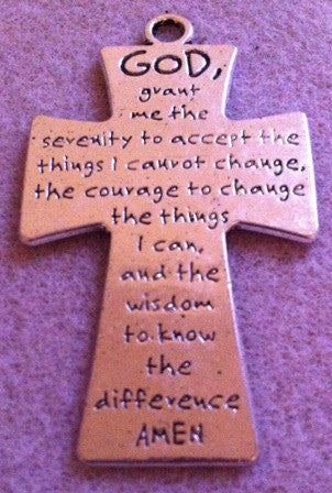 Pewter Serenity Prayer Cross  (2 Pieces) - www.kraftsandbeads.com