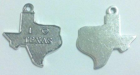 Texas State Charms with Heart (10 Pieces)